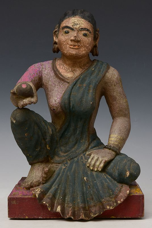 Early 19th Century, Early Mandalay, Burmese Wooden Seated Lady