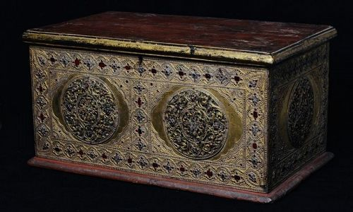 19th C., Mandalay, Burmese Wooden Chest with Gilded Gold and Glass