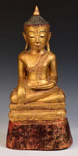 18th Century, Tai Yai Burmese Wooden Seated Buddha