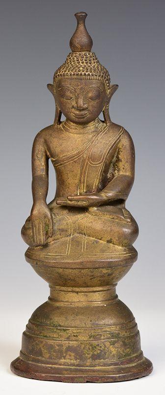15th Century, Ava, Rare Burmese Bronze Seated Buddha