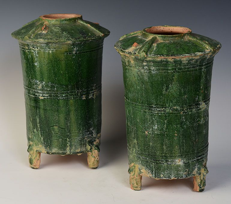 Han Dynasty, A Pair of Chinese Green Glazed Pottery Granary Jars