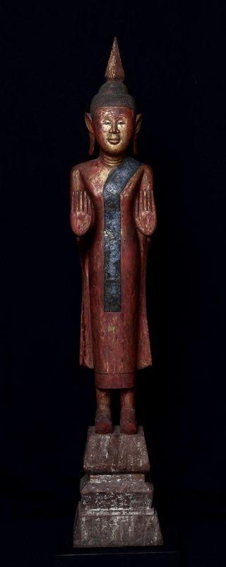 19th Century, Thai (Nan) Wooden Standing Buddha