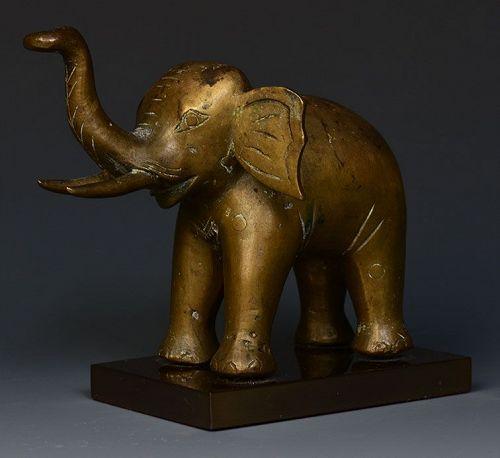 Early 20th Century, Burmese Bronze Standing Elephant