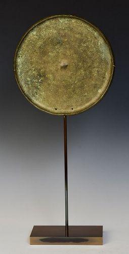 12th Century, Angkor Vat, Khmer Bronze Mirror with Stand