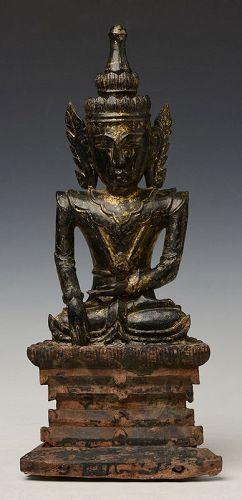 18th Century, Shan, Burmese Wooden Seated Crowned Buddha