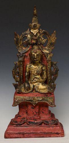 19th Century, Thai Wooden Seated Buddha