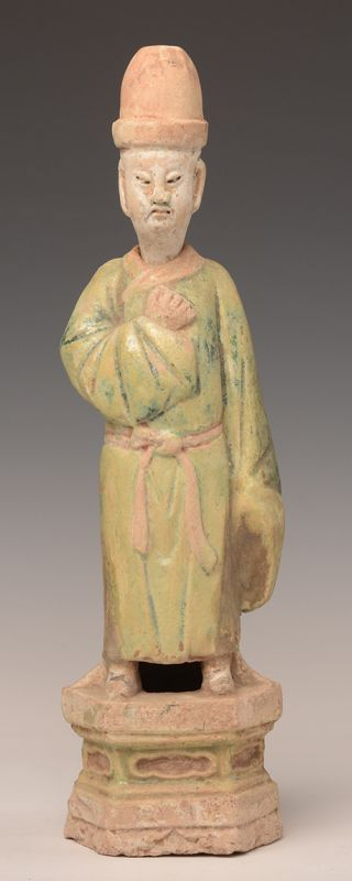 Ming Dynasty, Chinese Painted Pottery Figure of Court Man