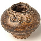 A Khmer Brown Glazed Lime-Pot, in Owl Form