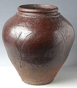 18th Century, Burmese Brown Glazed Jar