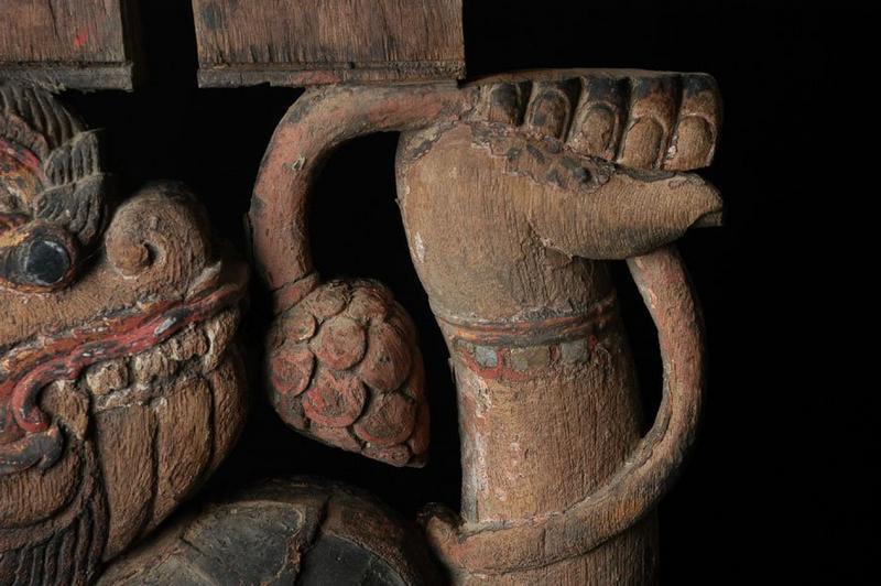 19th century, Rare Carved Wooden Hanuman Roof Bracket