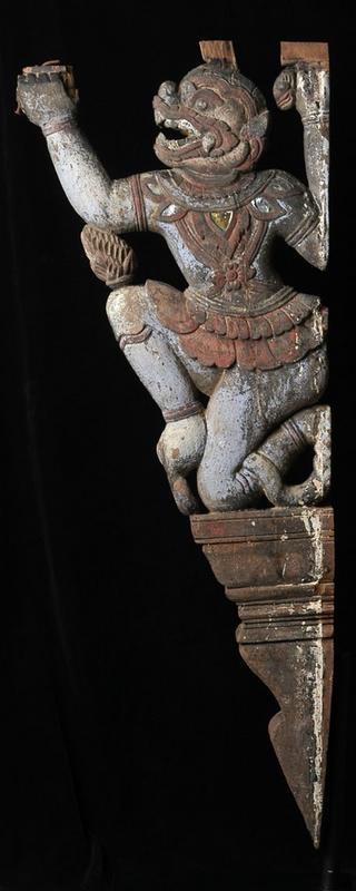 19th century, Rare Carved Wooden Hanuman Roof Bracket