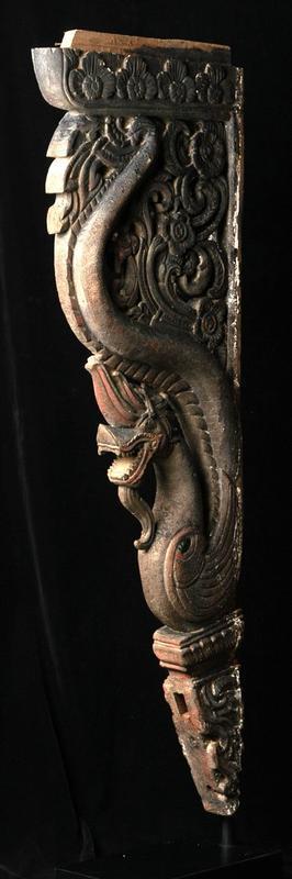 19th century, Rare Carved Wooden Naga Roof Bracket