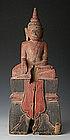 19th Century, Laos Wooden Seated Buddha