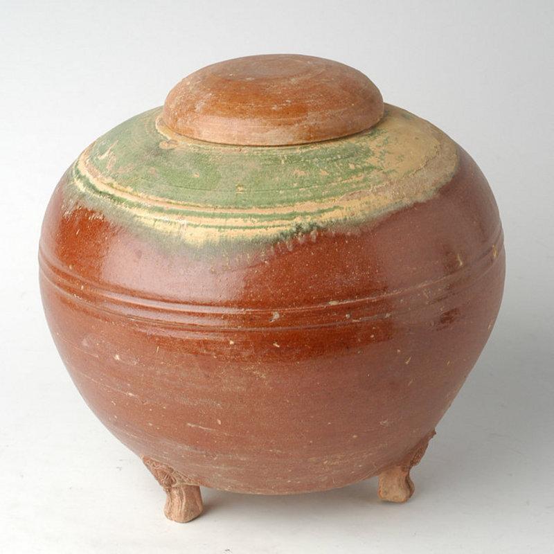 Han Dynasty, Chinese Pottery Granary Jar w/ Amber Glaze