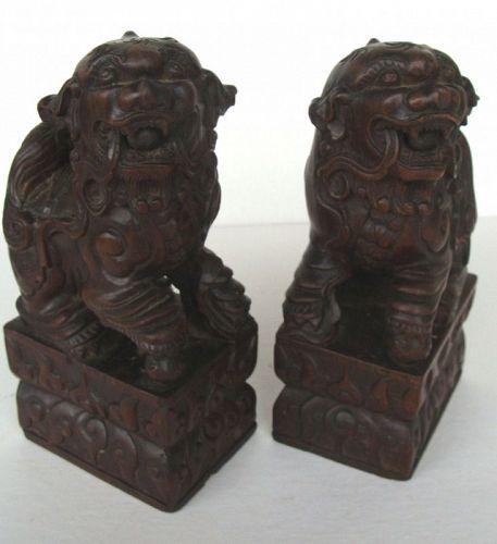 Wooden Buddhist Lions (Pair)