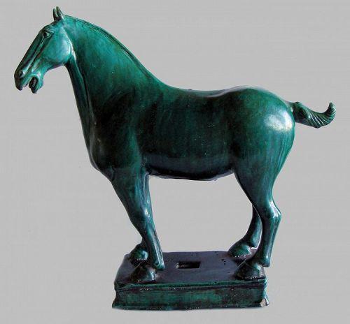 Green Glazed Standing Horse
