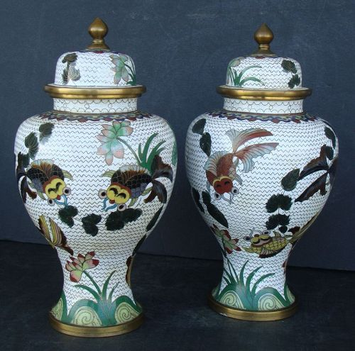 Chinese Cloisonne Vase with Lid (Pair)