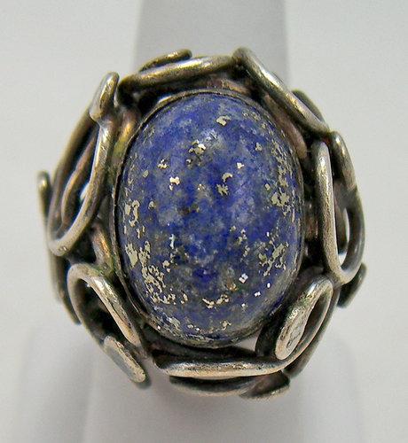Rachel Gera Modernist Sterling and Lapis Ring Israel