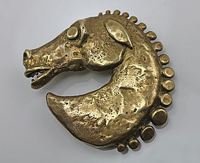 Carl Tasha Modernist Brass Horse Buckle