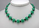 Art Deco Green Onyx Necklace - 1930