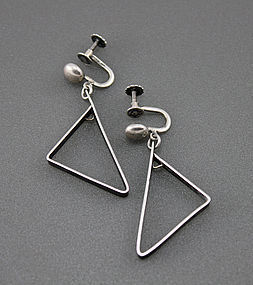 Irena Bryner Modernist Sterling Silver Earrings