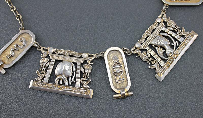 Egyptian Revival Art Deco Silver Necklace