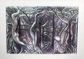 Ross Braught Modernist Surrealistic Figural Landscape