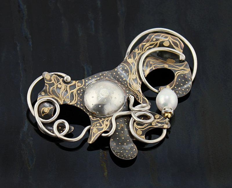 Loretta Tryon Bronze and Sterling Artisan Brooch