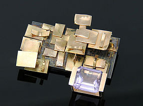 Modernist 18K Gold And Kunzite Brooch