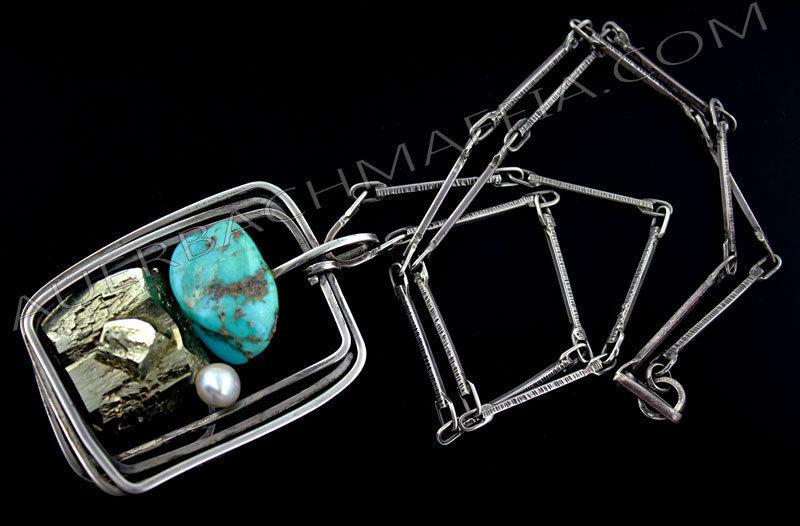 Rebajes Modernist Sterling Turquoise Pyrite Necklace