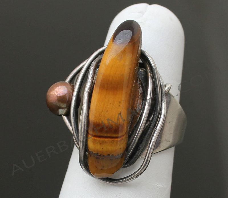 Rebajes Sterling Modernist Ring Tiger Eye