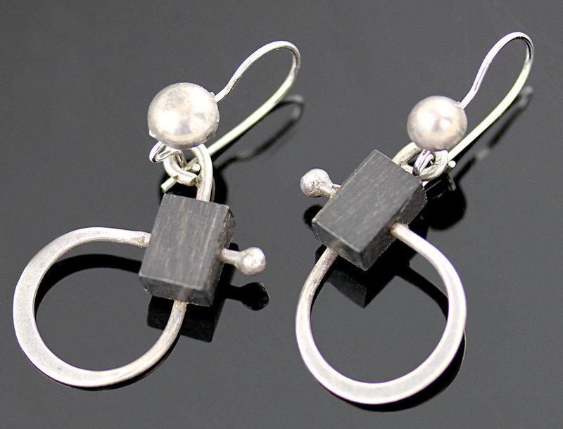 Henry Steig Modernist Sterling and Wood Earrings