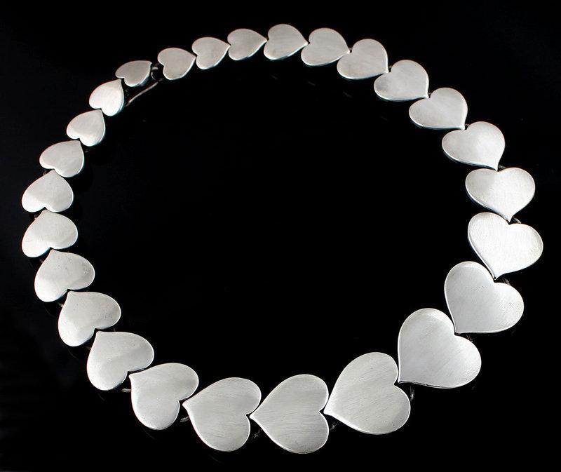 Hans Hansen Modernist Sterling Heart Necklace Denmark