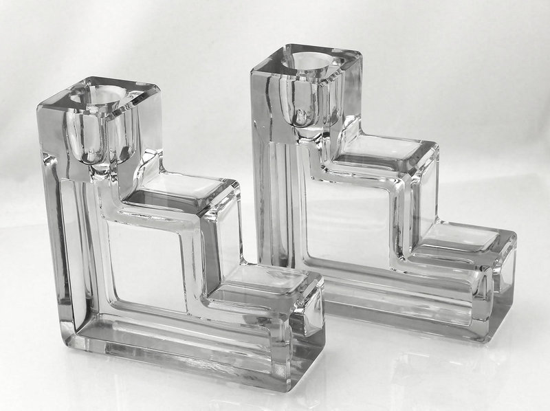 Art Deco Wilber Orme Candle Holders Cambridge Glass 1930's Moderne