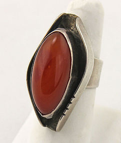 Paul Miller Modernist Sterling and Red Agate Ring 1950