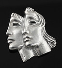 Peter Fingesten Modernist Double Mask Brooch New York