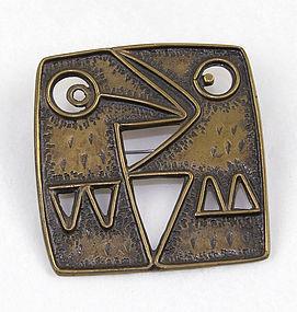 Percz Janos Modernist Bronze Brooch - Hungary - Mid Century