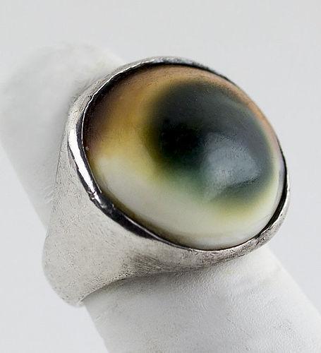Sam Kramer Modernist Sterling Operculum Ring - 1950