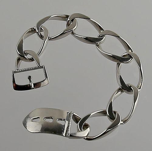 Friedrich Binder German Modernist Silver Buckle Bracelet