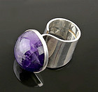 Large Modernist Ring with Amethyst Turku Finland 1973
