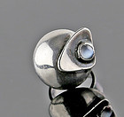 Sam Kramer Modernist Sterling and Moonstone Ring 1950 Mid Century