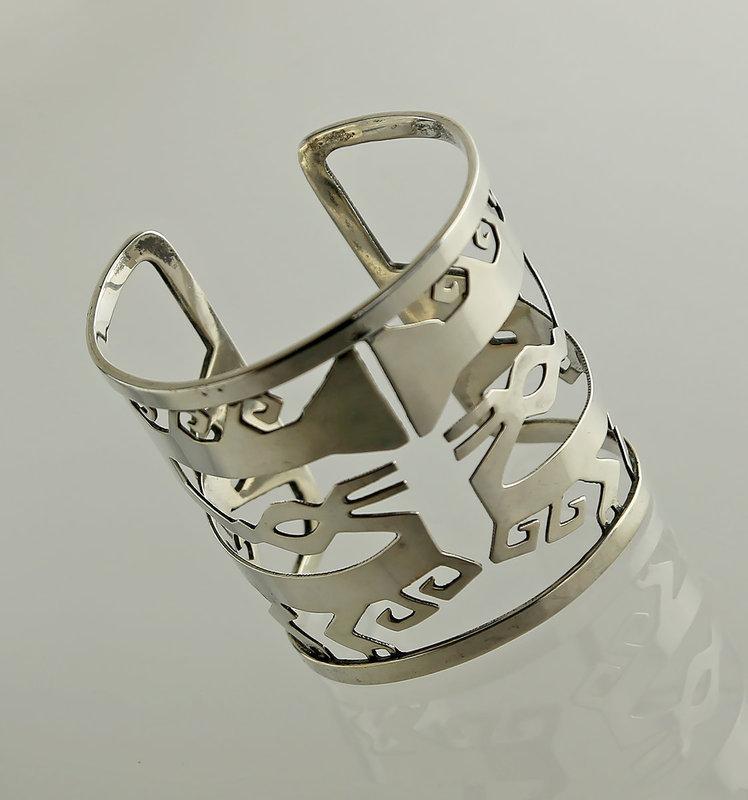 Graziella Laffi Modernist Sterling Cut Out Bracelet 1950 Peru/Italy