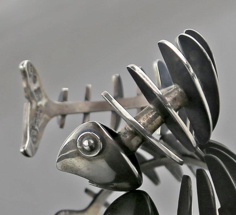 Antonio Pineda Modernist Sterling Fish Bracelet Taxco