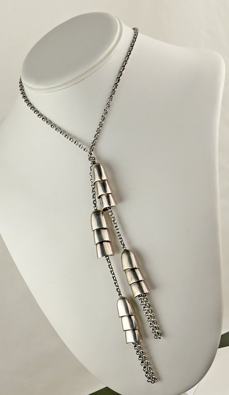 Bill Schiffer Post Modernist Sterling Lariat Necklace and Earrings