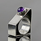 Modernist Sterling and Amethyst Architectural Ring - 1970's