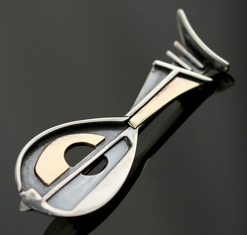 Ed Levin Modernist 14K Gold and Sterling Abstract Mandolin Brooch