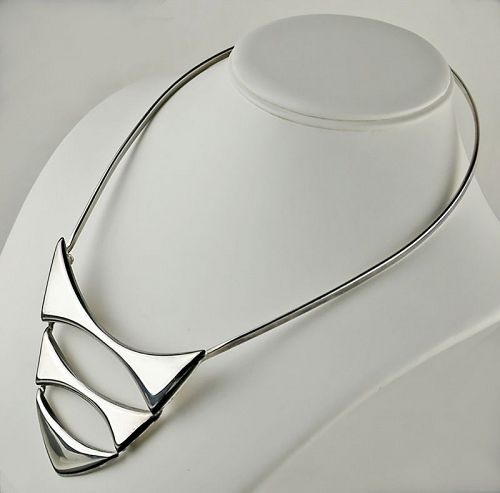 Franz Scheuerle Modernist Sterling Necklace - Germany 1960's