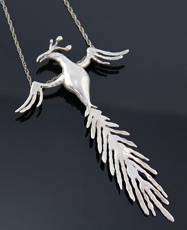 Carl Tasha Modernist Sterling Silver Phoenix Necklace
