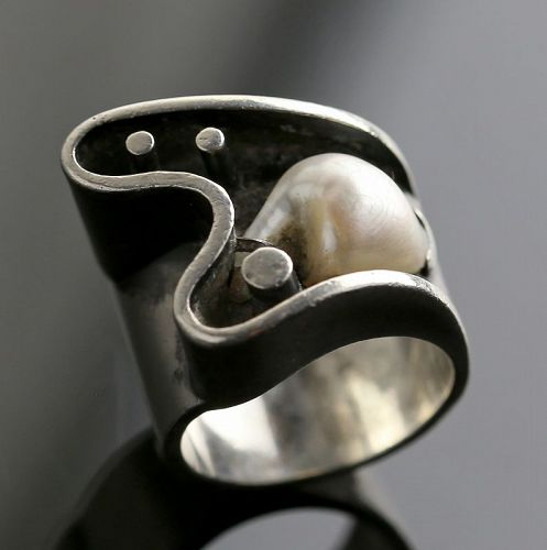 Everett MacDonald Modernist Sterling and Pearl Ring 1950