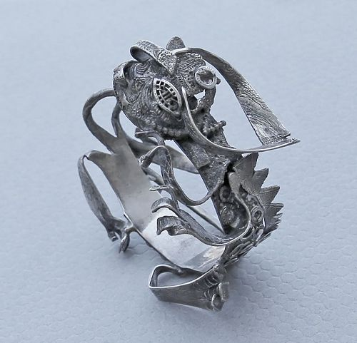 Mary Ann Scherr Modernist Sterling Dragon Bracelet
